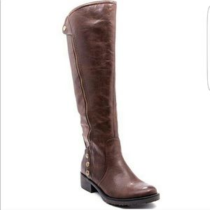 Baretraps Oria Brown Faux Leather Riding Boots 7.5
